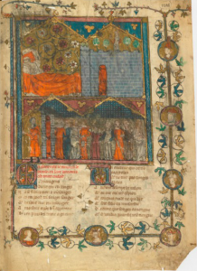 Manuscript Arsenal 3338, f. 1r (from the Montbaston atelier)