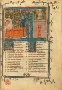 Manuscript BnF fr 802, f. 1r (from the Montbaston atelier)
