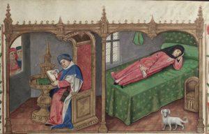 Figure 9: Manuscrit Bodléienne Douce 195, f. 1r (détail)