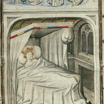 Miniature depicting the Dream of Scipio from the Roman de la Rose. J. Paul Getty Museum, Ludwig XV 7, f. 1r