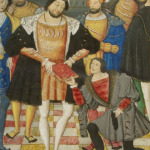 Figure 10: Manuscrit Morgan 948, f. 4r (détail): François Ier, Roi de France, étant présenté avec le manuscrit