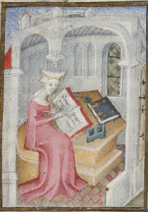 Christine de Pizan depicted in MS Bibliothèque nationale de France, Arsenal 2681, f. 4r